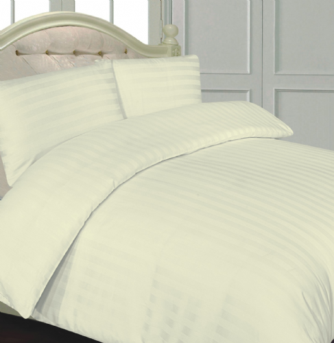 CREAM COLOUR 300 THREAD COUNT LUXURY HOTEL QUALITY STRIPE SATEEN BEDDING DUVET SET